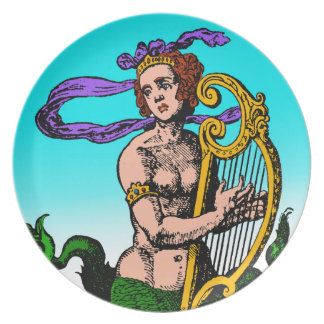 Melusine mermaid playing a harp melamine plate