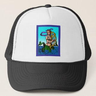 Melusine mermaid playing a harp trucker hat