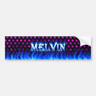 Melvin blue fire and flames bumper sticker design. car bumper sticker