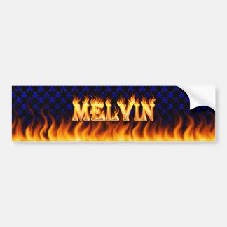 Melvin real fire and flames bumper sticker design. car bumper sticker
