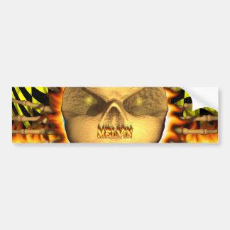 Melvin skull real fire and flames bumper sticker d car bumper sticker