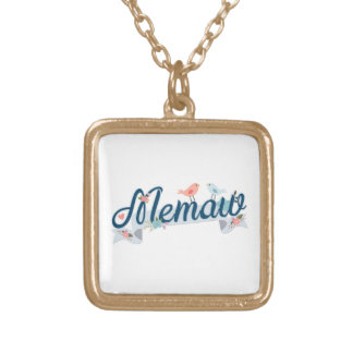 Memaw Banner Birds blue Gold Plated Necklace