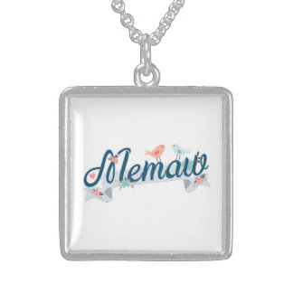 Memaw Banner Birds blue Sterling Silver Necklace