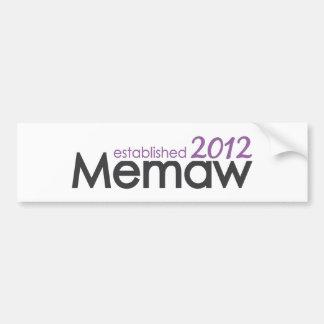 Memaw Established 2012 Bumper Sticker