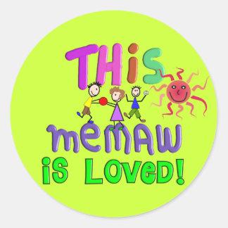 Memaw Grandmother Gifts Classic Round Sticker