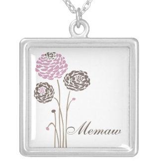 Memaw Necklace Stylish Dahlia Flowers