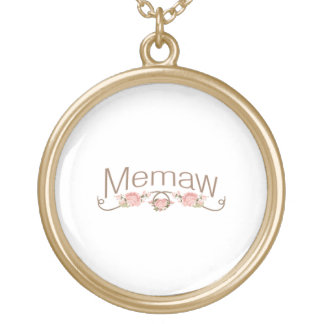 Memaw Pink Poppies Gold Plated Necklace