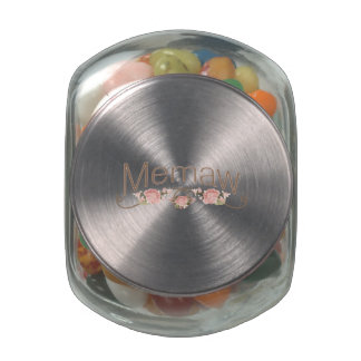 Memaw Pink Poppies Jelly Belly Candy Jar