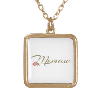 Memaw Pink Posey Gold Plated Necklace