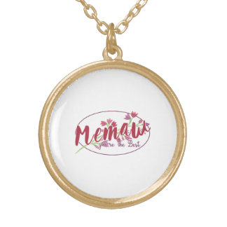 Memaw You're The Best Floral1 Gold Plated Necklace