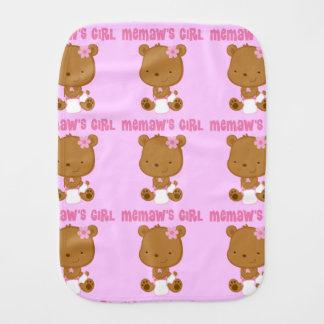 Memaws Girl Baby Burp Cloth