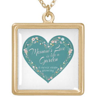 Memaws Love Garden Teal Gold Plated Necklace