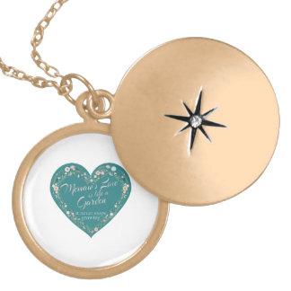 Memaws Love Garden Teal Locket Necklace
