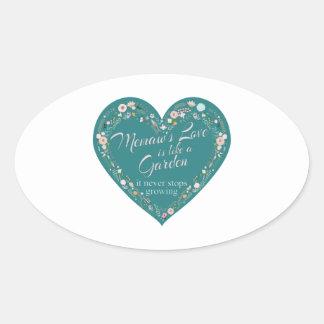 Memaws Love Garden Teal Oval Sticker
