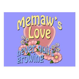 Memaw's Love Never Quits Growing Postcard