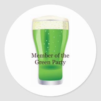 Member of the Green Party Beer St. Patrick's Day Classic Round Sticker
