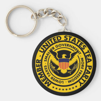 Member: United States Tea Party Basic Round Button Keychain