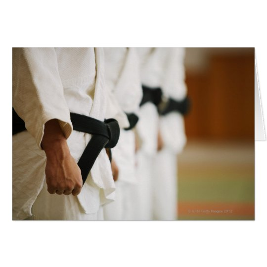 Members of a Judo Dojo Lined Up Card