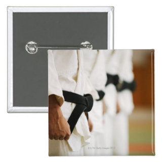 Members of a Judo Dojo Lined Up Pinback Button