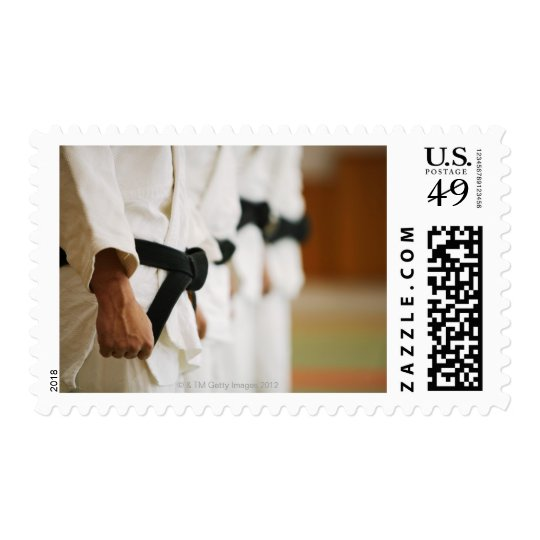 Members of a Judo Dojo Lined Up Postage