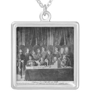 Members of the Commune at the Hotel de Ville Square Pendant Necklace
