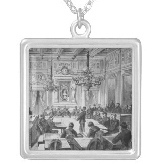 Members of the Commune in session Square Pendant Necklace