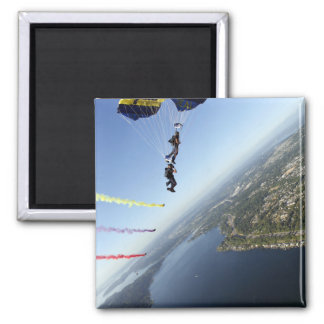 Members of the US Navy Parachute Team 2 Inch Square Magnet