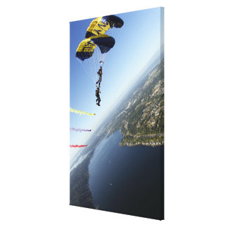 Members of the US Navy Parachute Team Canvas Print
