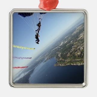 Members of the US Navy Parachute Team Metal Ornament