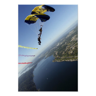 Members of the US Navy Parachute Team Poster