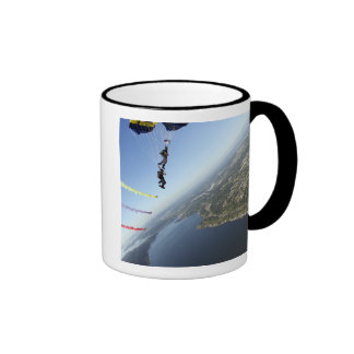 Members of the US Navy Parachute Team Ringer Mug