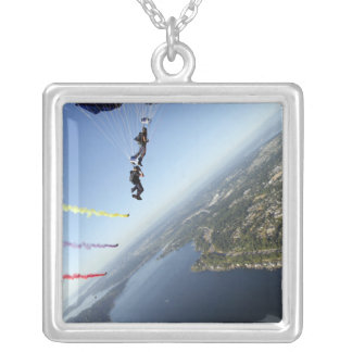Members of the US Navy Parachute Team Square Pendant Necklace