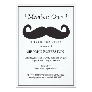 Members Only Bachelor Party 5x7 Paper Invitation Card