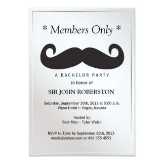 Members Only Bachelor Party Card