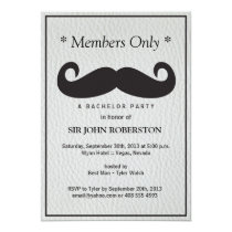 Members Only Bachelor Party Faux Leather Invitation