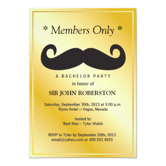 """Members Only Bachelor Party 5"""" X 7"""" Invitation Card"""