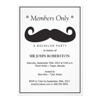 Members Only Bachelor Party Custom Announcements