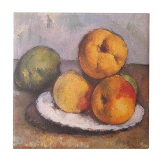 Membrillo, manzanas y peras de Paul Cezanne Azulejo Cuadrado Pequeño