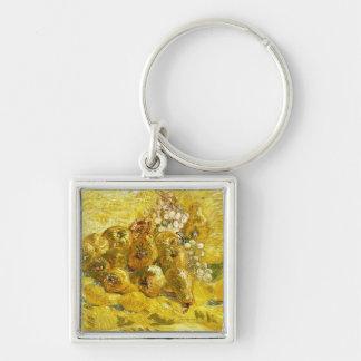 Membrillos, limones, peras y uvas Vincent van Gogh Llavero Cuadrado Plateado