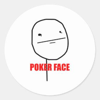 Meme del Internet de la cara de póker Pegatina Redonda