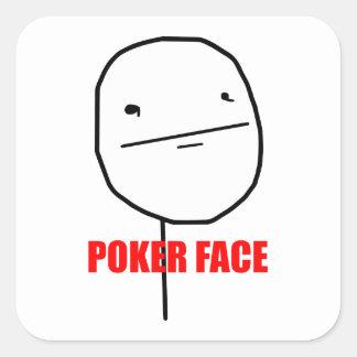Meme del Internet de la cara de póker Calcomania Cuadradas