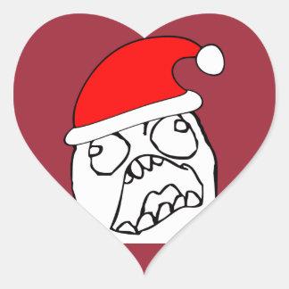 Meme enojado de Navidad de FFFUUU Pegatina En Forma De Corazón