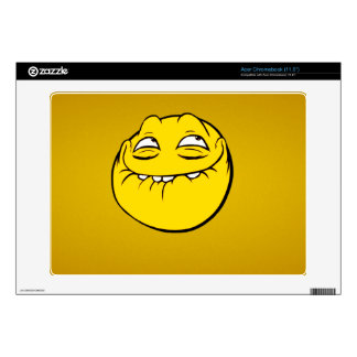 Meme Face Smiley Emoticon Yelow Funny Head Troll Acer Chromebook Skins