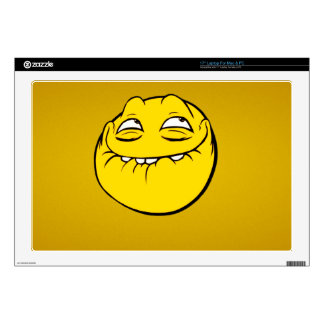 Meme Face Smiley Emoticon Yelow Funny Head Troll Decals For Laptops