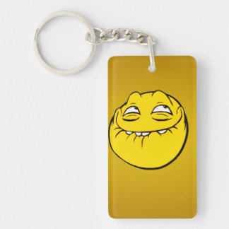 Meme Face Smiley Emoticon Yelow Funny Head Troll Single-Sided Rectangular Acrylic Keychain
