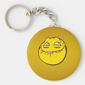 Meme Face Smiley Emoticon Yelow Funny Head Troll Basic Round Button Keychain