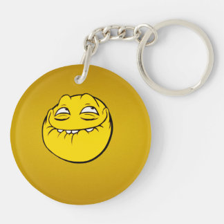 Meme Face Smiley Emoticon Yelow Funny Head Troll Double-Sided Round Acrylic Keychain