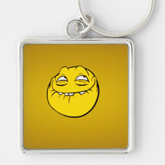 Meme Face Smiley Emoticon Yelow Funny Head Troll Silver-Colored Square Keychain