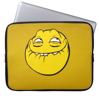 Meme Face Smiley Emoticon Yelow Funny Head Troll Laptop Computer Sleeve