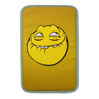 Meme Face Smiley Emoticon Yelow Funny Head Troll MacBook Air Sleeves